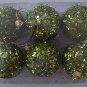 Other - 1 Pack (6pc) Xmas Beaded Balls green